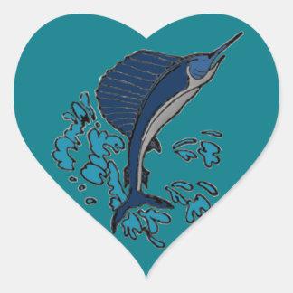 Schwertfische Herz-Aufkleber