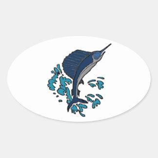 Schwertfische Ovaler Aufkleber