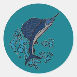 Schwertfische Runder Aufkleber