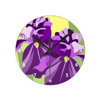 Schwertlilie-Blumen-Uhren Runde Wanduhr