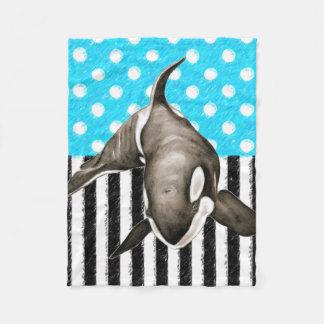 Schwertwal-Blau-Tupfen Fleecedecke