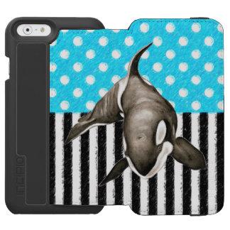 Schwertwal-Blau-Tupfen Incipio Watson™ iPhone 6 Geldbörsen Hülle