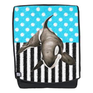 Schwertwal-Blau-Tupfen Rucksack