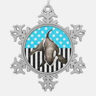 Schwertwal-Blau-Tupfen Schneeflocken Zinn-Ornament