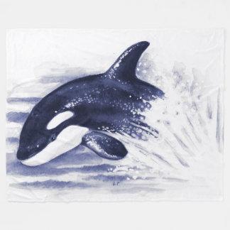 Schwertwal, der Blau durchbricht Fleecedecke
