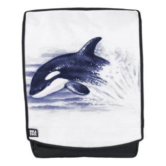 Schwertwal, der Blau durchbricht Rucksack
