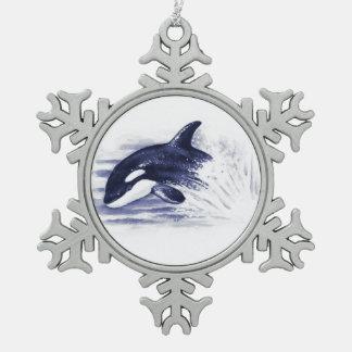 Schwertwal, der Blau durchbricht Schneeflocken Zinn-Ornament