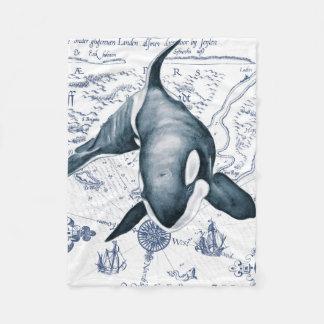 Schwertwal-Karten-Blau Fleecedecke