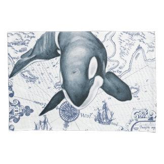 Schwertwal-Karten-Blau Kissen Bezug