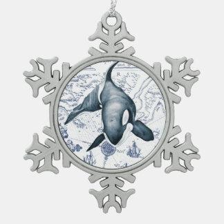 Schwertwal-Karten-Blau Schneeflocken Zinn-Ornament