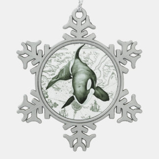 Schwertwal-Karten-Grün Schneeflocken Zinn-Ornament