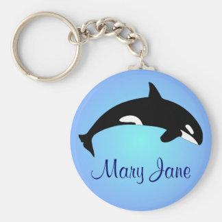 Schwertwal-Killerwal-Steigungs-Blau-Name Schlüsselanhänger