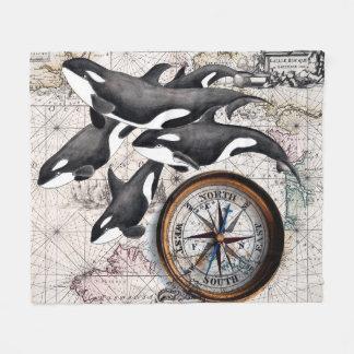 Schwertwal-Seekompaß Fleecedecke