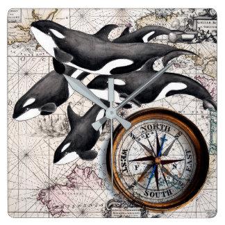 Schwertwal-Seekompaß Quadratische Wanduhr