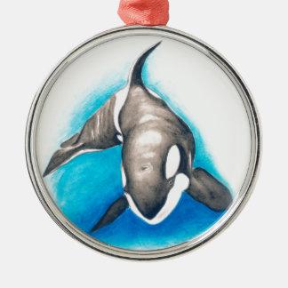 Schwertwal-tiefes Tauchen Silbernes Ornament