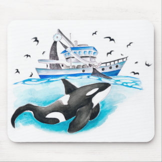 Schwertwal und das Boot Mousepad