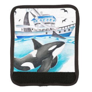 Schwertwal und das Fischerboot Gepäck Markierung