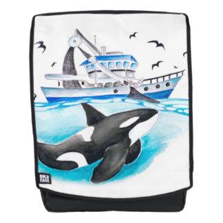 Schwertwal und das Fischerboot Rucksack