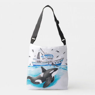 Schwertwal und das Fischerboot Tragetaschen Mit Langen Trägern
