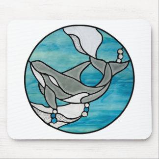 Schwertwal-Wal-Buntglas-Kunst-Entwurf Mousepad