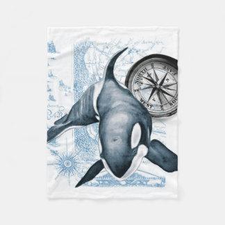 Schwertwal-Wal-Kompass Fleecedecke