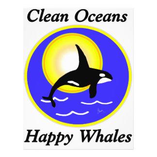 Schwertwal-Wal-saubere Ozean-glückliche Wale 21,6 X 27,9 Cm Flyer