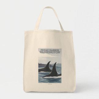 Schwertwal-Wale #1 - Freitag-Hafen, Washington Einkaufstasche