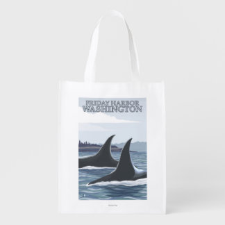 Schwertwal-Wale #1 - Freitag-Hafen, Washington Wiederverwendbare Einkaufstasche