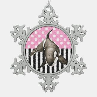 Schwertwal-Walrosa-Tupfen Schneeflocken Zinn-Ornament