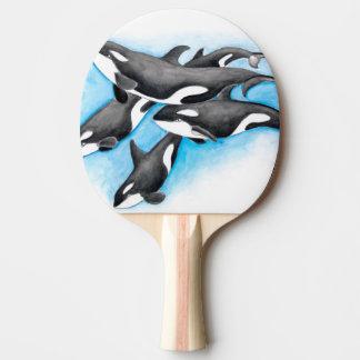 Schwertwale im Blau Tischtennis Schläger