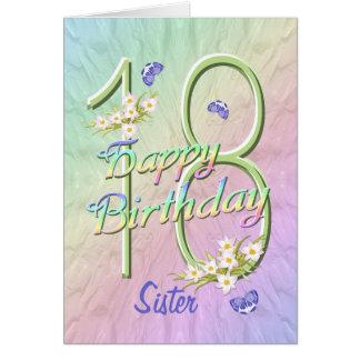 Schwester-18. Geburtstags-Schmetterlings-Garten-Ka Grußkarte