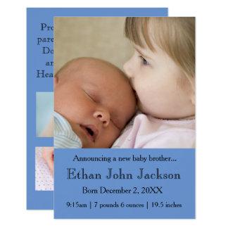 Schwester 3x5, die die Geburts-Blau des Bruders 8,9 X 12,7 Cm Einladungskarte