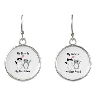 Schwester-bester Freund-Katzen kundenspezifisch Ohrringe