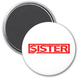 Schwester-Briefmarke Runder Magnet 7,6 Cm