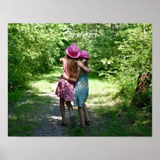 Schwester-Freundschaft im rustikalen Poster
