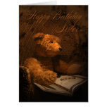 Schwester-Geburtstags-Karte mit dem Teddybären,