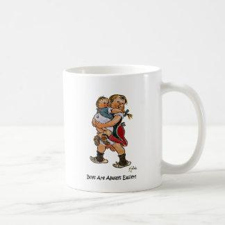 Schwester mit kleinem Bruder Kaffeetasse