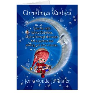 Schwester, Nacht vor Weihnachten mit dem Elf Karte