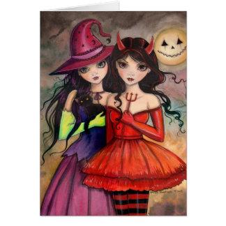 Schwestern der gotischen Fantasie-Kunst Halloweens Grußkarte