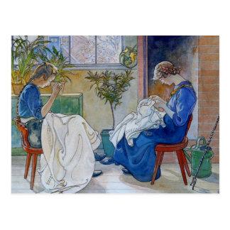 Schwestern, die durch den Kamin nähen Postkarten