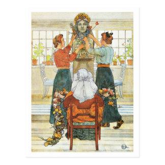 Schwestern, die für Feiertag verzieren Postkarte
