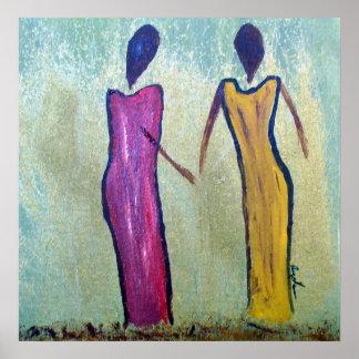Schwestern - MattLeinwand-afrikanischer Druck Poster