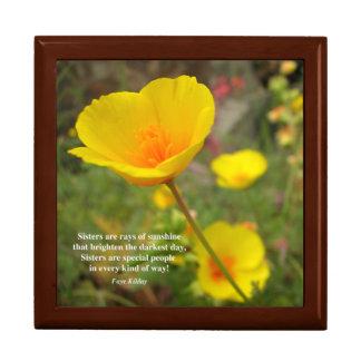 Schwestern sind spezielle Gedicht-Gelb-Mohnblume Geschenkbox