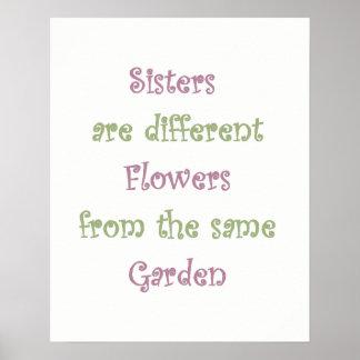 Schwestern sind verschiedene Blumen im gleichen Poster