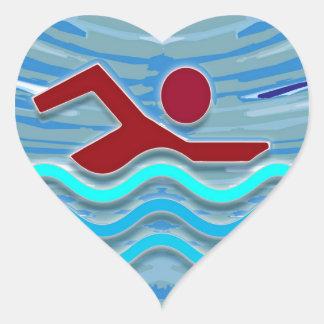 Schwimmen der Herz-Aufkleber