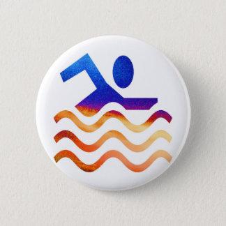 Schwimmen-Erfolg - cooler Verstand in heiße Zeiten Runder Button 5,7 Cm