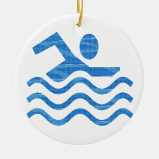 Schwimmen-Erfolg - heiße Zeit-cooler Verstand Rundes Keramik Ornament