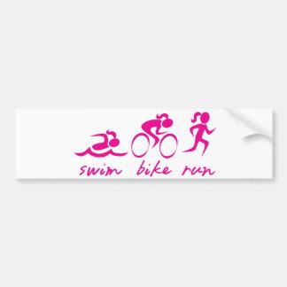 Schwimmen-Fahrrad Tri Laufmädchen Autoaufkleber