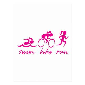 Schwimmen-Fahrrad Tri Laufmädchen Postkarte