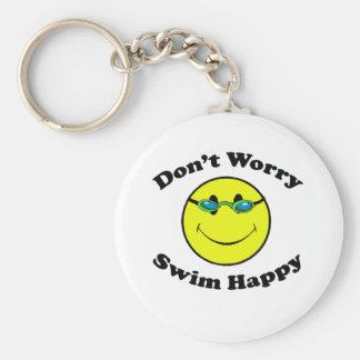 Schwimmen glücklich standard runder schlüsselanhänger